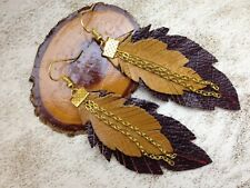 Handmade Leather Brown Feather Earings Gothic LARP Festival. Made In England.