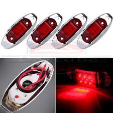 4pcs 12V Waterproof Lens 6 LED Indicator Red Trailer Truck Side Marker Light
