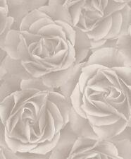 EUR 2,15/qm / Rasch Tapete Crispy Paper / Rasch 525601 / Rosen Tapete Beige-Grau