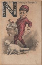 Victorian Trade Card-Neff's German Mixture-Nashua, NH-Imitating Organ Grinder