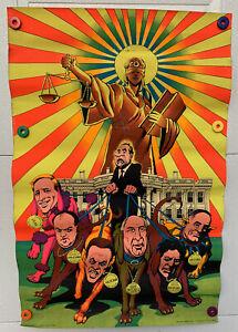Neon Political 1973 Watergate Nixon Third Eye Inc Blacklight Psychedelic Poster