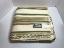 Woolrich Soft Flannel Throw Blanket 53 1/2� X 51� Beige Off White Brown Stripes