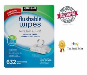 Kirkland Signature Moist Flushable Wipes, 632 Wipes **FREE SHIPPING**