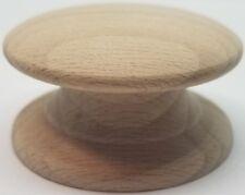"2"" Round BIRCH Hardwood Wood Grain Knob WIDE Base pull handle antique vintage"