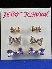 Betsey Johnson Goldtone SWEET SHOP Pastel Pave Purple BOW Stud Earrings 3 Set