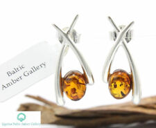 NATURAL BALTIC AMBER STERLING SILVER 925 Earrings Certified +BOX