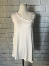 604fb310262581 Cable   Gauge White Tank Top Sz M One Shoulder Gold Detail Sleeveless