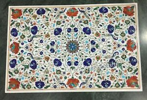 Marble Dining Table Top with Marquetry Art Garden Table Royal Look 42 x 60 Inch