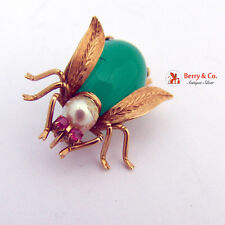 Antique Bug Brooch 14 K Gold Chalcedony Pearl Ruby