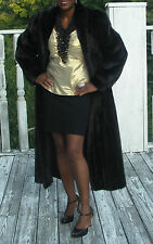 Mint Elegant dark brown Full Length Mink Fur Coat Jacket stroller L -XL 14-18