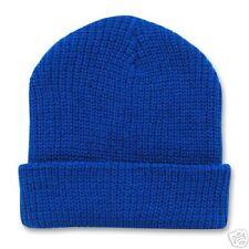 ROYAL BLUE KNIT LONG WATCH CAP CUFFED SKI BEANIE CAPS HAT HATS