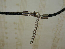 Genuine Leather Braided Necklace Cords Black White 3mm