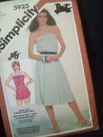 Vintage Simplicity Pattern 5925 Dress/Romper Stretch Knits Size 12-16 UC NOS