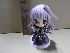 "#A75 Unknown Anime 3.5""in Light Purple Hair Big Head girl Figure Holding Book"