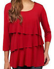 NEW SUSAN GRAVER LIQUID KNIT Tiered 3/4 Sleeve Top 220987