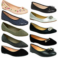 New Womens Flat Pumps Ballet Ballerina Dolly Bridal Shoes Floral UK Size 3-9
