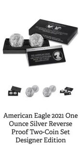 2021 American Silver Eagle 1 oz Reverse proof 2 coins Designer set [PRESALE]