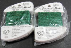 12xNeedlepoint/Embroidery THREAD R GALLERY HG Treasure 8 Brd metallic-emrld-RG80