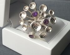 SOLID 925 STERLING SILVER AMETHYST BURST MOVEABLE PRONGS RING N HEAVY