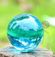 Rare Light Blue Quartz Magic Crystal Cut Glass Healing Ball Sphere + Stand 40mm