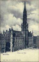 Bruxelles Brüssel Belgien Belgique AK ~1900 Hotel Hôtel de Ville Turm Gebäude