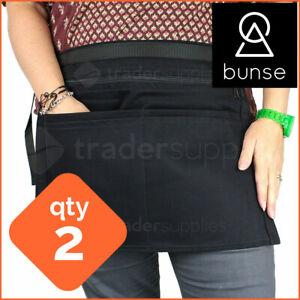 2 x BUNSE 6 Pocket Black Denim Market Trader Money Bag Cash Belt Pocket Pouch
