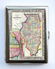 Illinois Map Cigarette Case Wallet Business Card Holder id case Chicago atlas