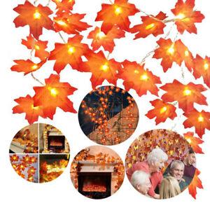 LED Fall Maple Leaves Fairy String Light Halloween Xmas Garland Home Decor Lamp
