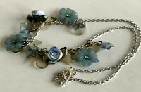 Vintage Blue Lucite Flowers Leaves Fabric Roses Bead Silver Tone Chain Necklace