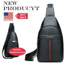 Men's Genuine Leather Sling Chest Shoulder Cross Body Cycle Day Packs Back pack