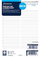 Filofax A5 día a una página 5 2018 inserte de recarga 18-68515 citas de idioma