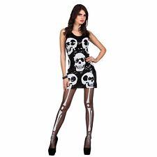 Ladies UK 10-12 Alternative Day Dead Skull Skeleton Sequin Dress Festival Goth