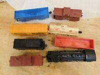 Vintage O Scale Marx Plastic Train Car Lot Of 7 plus Engine