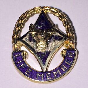 Vintage Pin Royal Order of Purple Life Member Sterling Vermile Gold Elks Womens