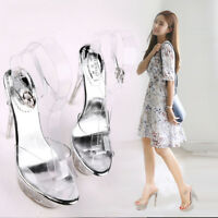 Crystal Sandals Heels Platform Clear Transparent Strappy Women Shoes Big Size S1