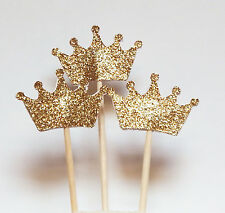 Set of 24 Gold Glitter Crown Cupcake Toppers Wedding Picks Party BABY SHOWER QI