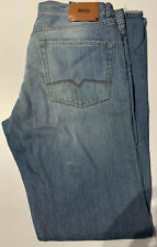 Hugo Boss Mens Classic Straight Leg Jeans, Light Blue 36x36 Good Condition!