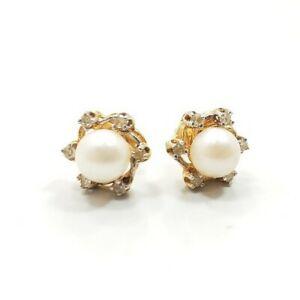 Great Modern Beautiful 14k Yellow Gold Diamond Pearl Ladies Pierced Earrings