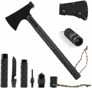 Leogreen Camping Axe, Survival Ax with Sheath, Folding Camp Hatchet,Black