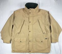 Vintage Woolrich Plaid Lined Coat Field Hunting Jacket Men's Size XL Khaki