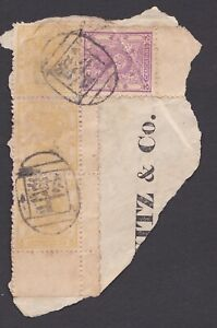 China ,1885 Small Dragon 5ca Used vertical strip of 3 on piece, Shanghai Cancels
