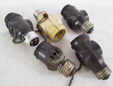 Vintage Lot of 5 Screw In Lamp Socket Plug Adapters Leviton Etc.