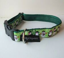 Christmas dog collar gift green penguins & snowmen S, M, & L dogs
