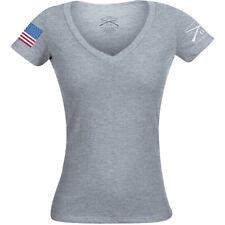 Grunt estilo mujeres Bandera a todo color básico Escote en V Camiseta-Heather Gris