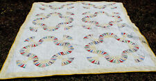 """antique cotton patchwork all hand quilted quilt, 77"""" x 64""""    *"""