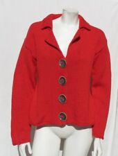 PURE HANDKNIT Red Cotton Chunky Knit Large Buttons Cardigan Sweater size M L EUC