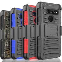 For LG K31 Rebel Case, Belt Clip Kickstand Armor Cover +Tempered Glass Protector
