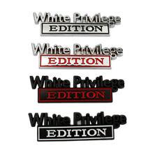 White Privilege Edition Car Truck 3D Letter Fender Emblem Badge Sticker Decal