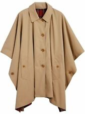 $1395 Burberry AUTH NWT Greymere Red Tartan Reversible Poncho Cape Coat XS Honey