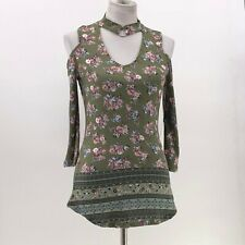 Almost Famous olive green floral print cold shoulder choker top sz M Nwt